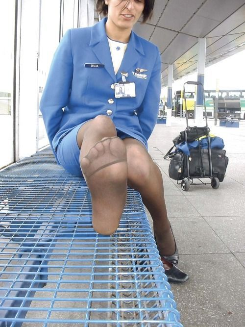 Flight Attendant in Black Pantyhose - YouPorncom