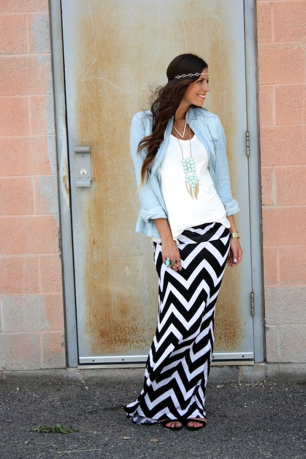 CASUAL: Black/White Chevron Print Maxi Skirt, Denim Double Pocket Long Sleeve Top, White Basic V Neck Tee & necklace, all from http://www.windsorstore.com/;  Natural Stone Knuckle Ring from http://www.forever21.com/  Bull Ring from http://www.stylelately.com/