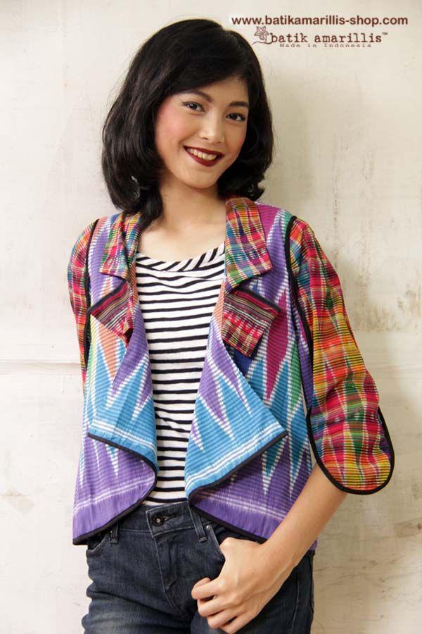 NEW! Batik Amarillis's lil' jolie jacket in Ikat Indonesia available at Batik Amarillis webstore:www.batikamarillis-shop.com