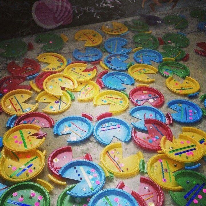 Peces de colores #platos #manualidades para #niños