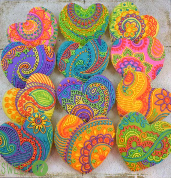 Mehndi personalizado galletitas de corazón juego de 6