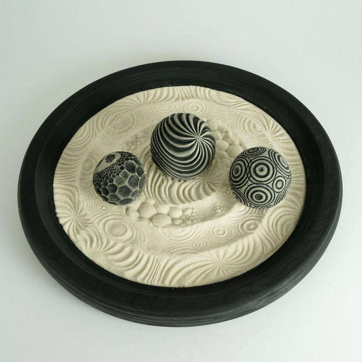 """Desktop Zen Garden, Nature Package: 12"""" Circular Wooden Tray, 16oz Sand & 3 Cement Spheres"""