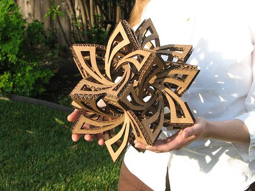 "This is so neat--""frabjous""--geometric sculpture--instructions, template, made from cardboard."