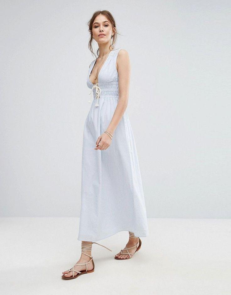 Moon River Striped Maxi Dress - Blue