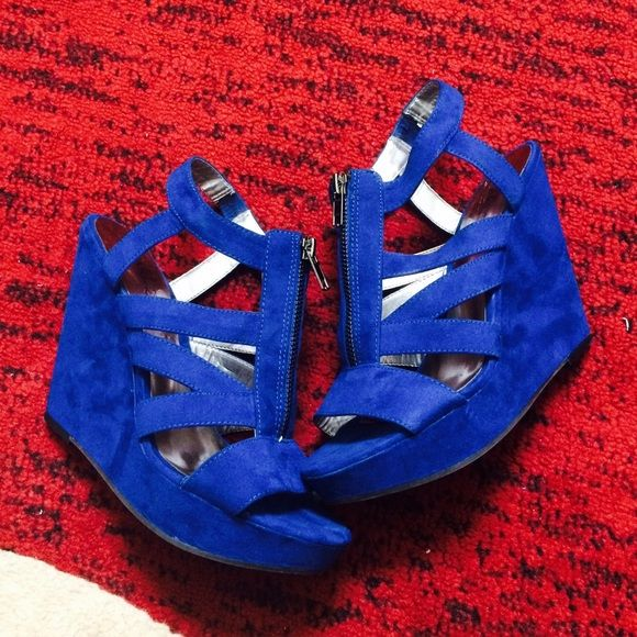 Royal Blue Wedges Royal Blue Strapped Wedges with zipper. Has been worn once but indoors. Has some scratch marks on the interior of the right shoe caused by me removing the size sticker from the shoe. But wont be visible when shoe is worn. Shoes