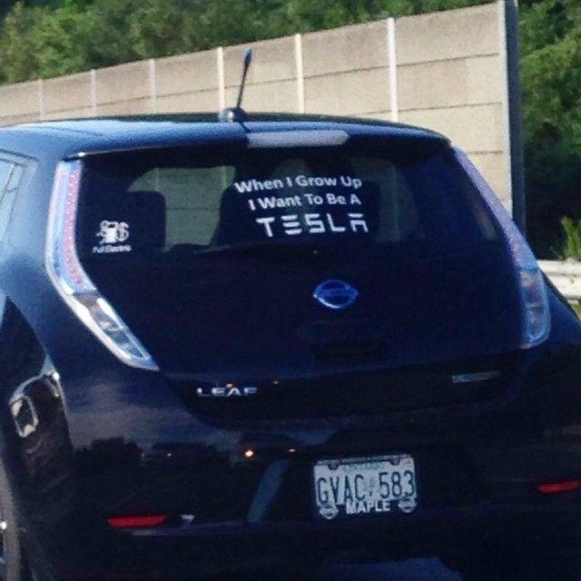 Funny car stickers tesla
