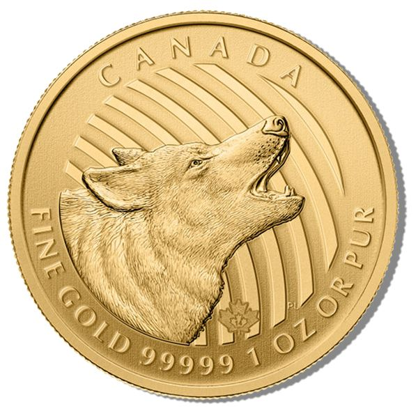 """2014 Canadian Gold Howling Wolf - 1 oz. After the wild success and spectacular gains from the six-coin series Wildlife Program of Silver coins, The Canadian Mint has just released a brand new """"Call of the Wild"""" three-coin Gold series. Available in this first time ever release is the phenomenal Gold Howling Wolf. Learn more at: http://www.austincoins.com/offer/2014-Canadian-Gold-Howling-Wolf-Coins-1-oz/16479"""