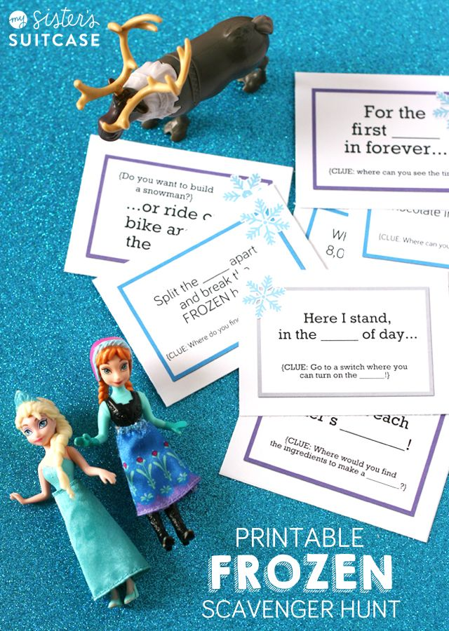 Just in time for the DVD release - here's a printable #FROZEN scavenger hunt the kids will love! Clues use song lyrics!