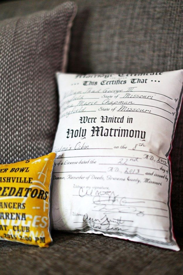 DIY Memory Pillows - Have your marriage certificate printed onto fabric and turn it into a pillow.