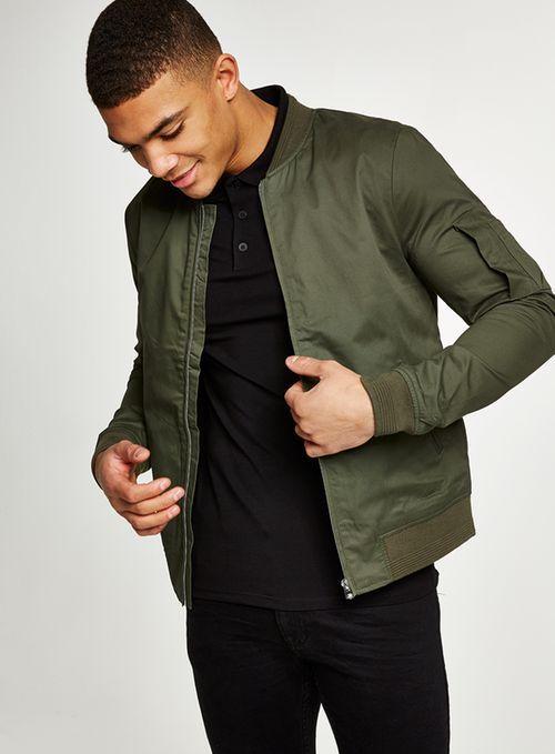 90033ce38b Khaki Muscle Fit Bomber Jacket - Coats & Jackets - Clothing - TOPMAN USA