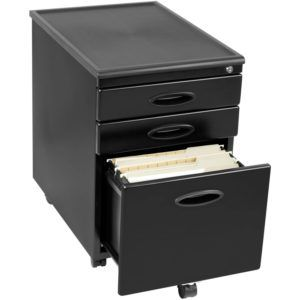 3 Drawer File Cabinet Black Metal