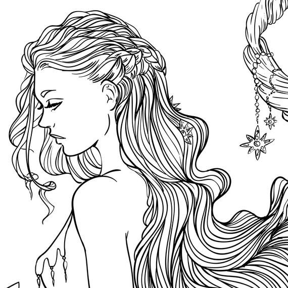 Adult Coloring Page Fantasy Moon And Stars Girl Line Art