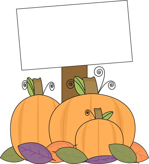 Pumpkin Graphics and Clip Art | Pumpkin with a Blank Sign Clip Art Image - pumpkins sitting in a leafy ...