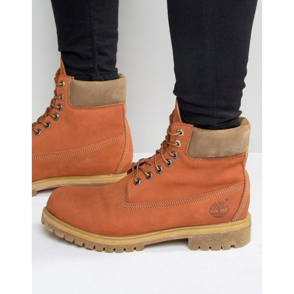 Timberland Classic Premium Boots featuring polyvore, men's fashion, men's shoes, men's boots, orange, timberland mens shoes, mens leather boots, timberland mens boots, mens leather shoes and mens round toe cowboy boots
