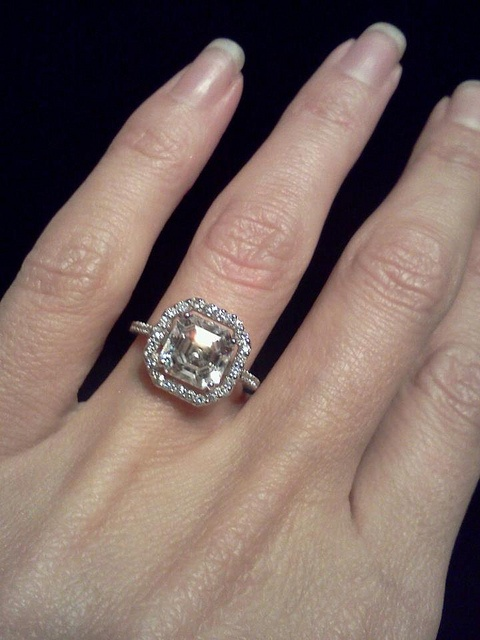 My Engagement Ring 2 5 Carat Asscher Center Stone With