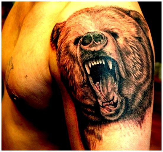 Stronger and Braver Personality with Bear Tattoo Designs: Howling Bear Tattoo Design For Men On Sleeve ~ Men Tattoos Inspiration