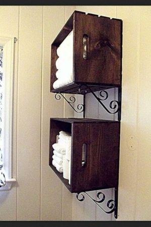 DIY Deco - Boites de rangement design avec des caisses en bois, étagère sympa.