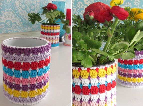 Flowerpot around a can. With tutorial. Handwerkjuffie.