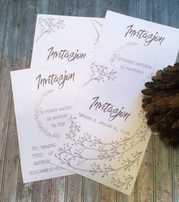Redigerbare invitasjoner vinter - bye9design