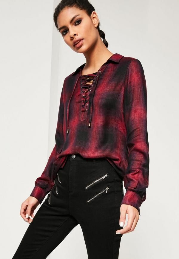Red Lace Up Checked Shirt - Free Delivery   Missguided