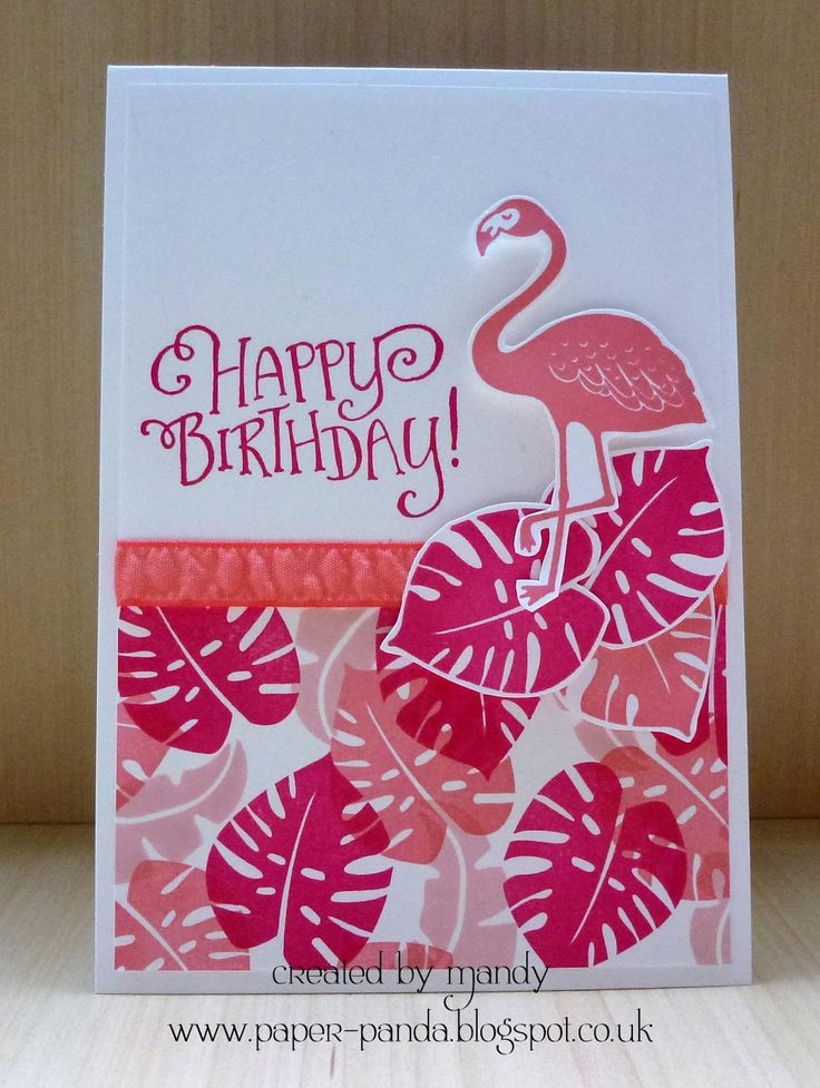 handmade birthday card ... flamingo ... monochromatic pinks ... fun grouping of tropical leaves ... Stampin' Up!