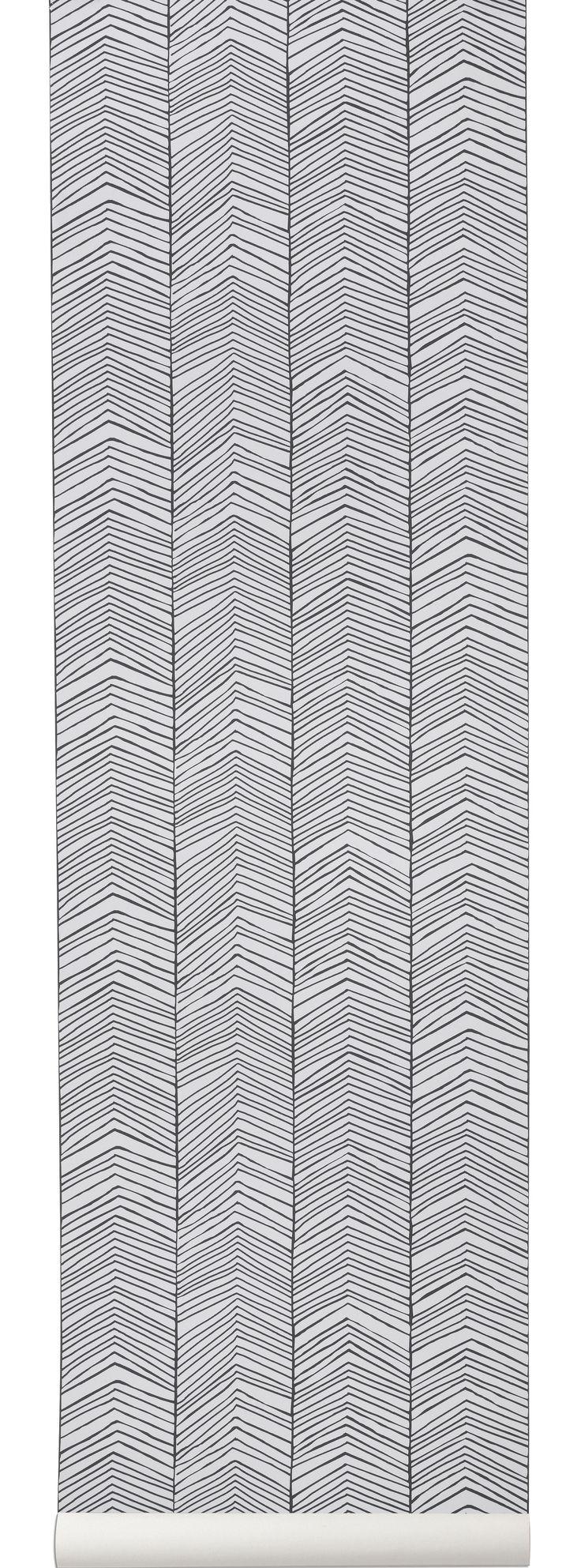 papier peint herringbone 1 rouleau larg 53 cm noir blanc ferm living