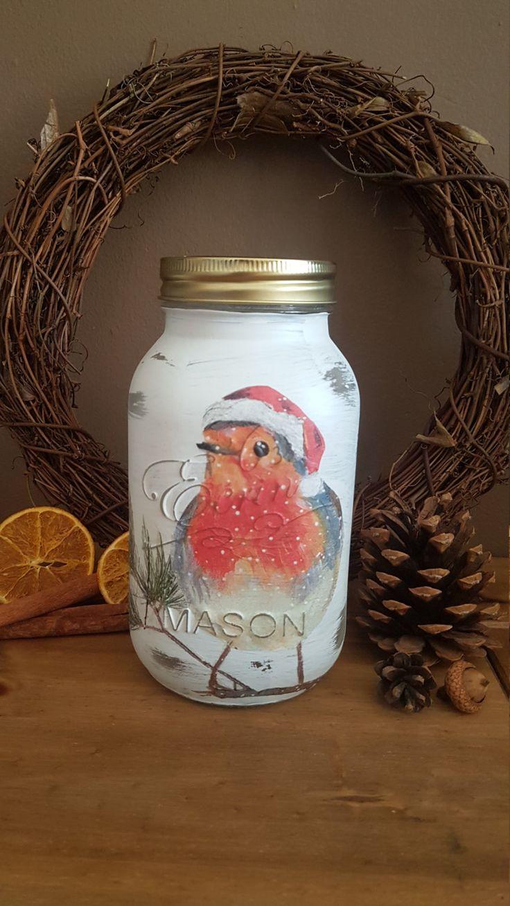 Handmade Christmas Robin Mason jar by SamanthaTheCraftyFox on Etsy