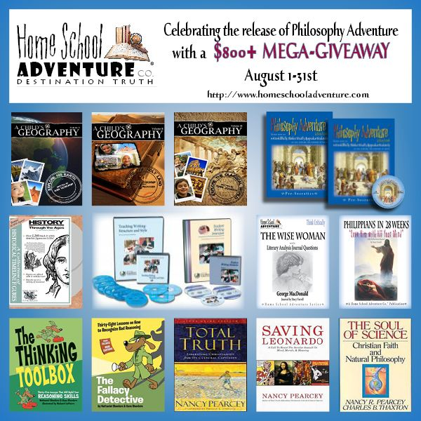 Huge #homeschool giveaway starts August 1st at http://www.homeschooladventure.com $800+ in Prizes! Philosophy Adventure Complete Set, Phillipians in 28 Weeks, The Wise Woman Literary Analysis Journal, Institute for Excellence in Writing Teaching Writing With Structure and Style with Student Writing Intensive, A Child's Geography Volumes 1-3, History Thru the Ages Timeline Figure Set, Fallacy Detective, The Thinking Toolbox, Total Truth, The Soul of Science, Saving Leonardo and more!