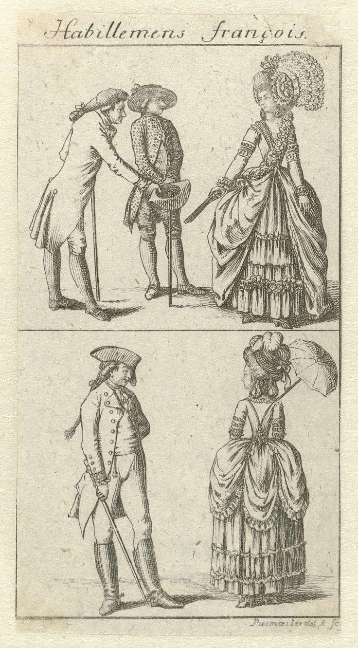 Habillemens François, ca. 1778-1780: Twee vrouwen en drie mannen met wandelstok, Rosmasler, c. 1778 - c. 1780