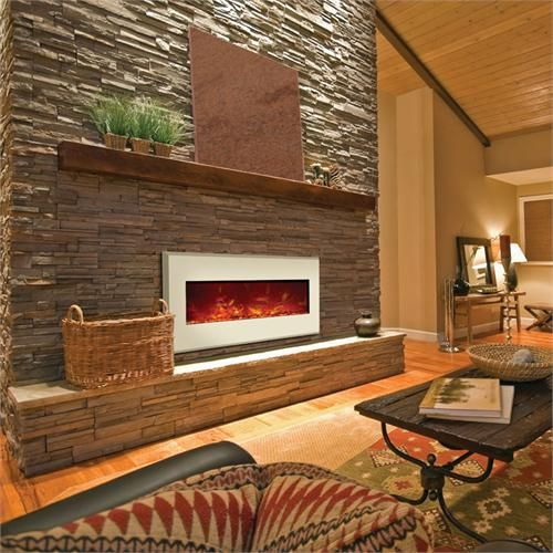 Amantii Wall Mount or Built-in Electric Fireplace w/ 64x21 in. Gallery White Steel Surround WM-BI-58-6421-GALLERYWHITE