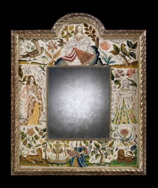 A CHARLES II STUMP WORK MIRROR - English Antique Furniture – Ronald Phillips Antique De...