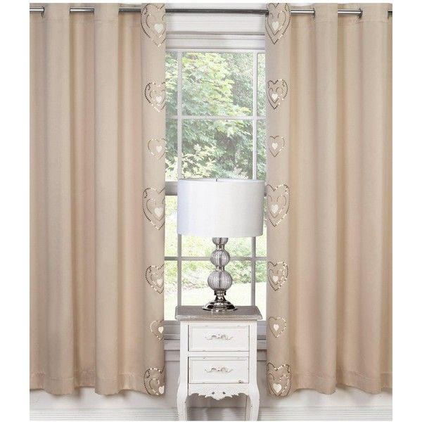 ($80) ❤ Liked On Polyvore Featuring Home, Home Decor, Window Treatments,  Curtains, Heart Curtains, Cream Curtains, Cream Colored Curtains, ...