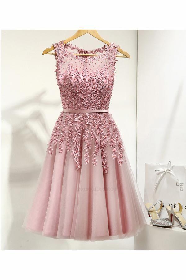 32b818d41a1f Homecoming Dresses Short, Cute Homecoming Dresses, Lace Prom Dresses, Prom Dresses  Pink, Homecoming Dresses For Teens #Lace #Prom #Dresses #Homecoming ...