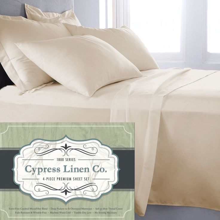 Cypress Linen Collection 1800 Series 4-Piece Cream Premium Sheet Sets