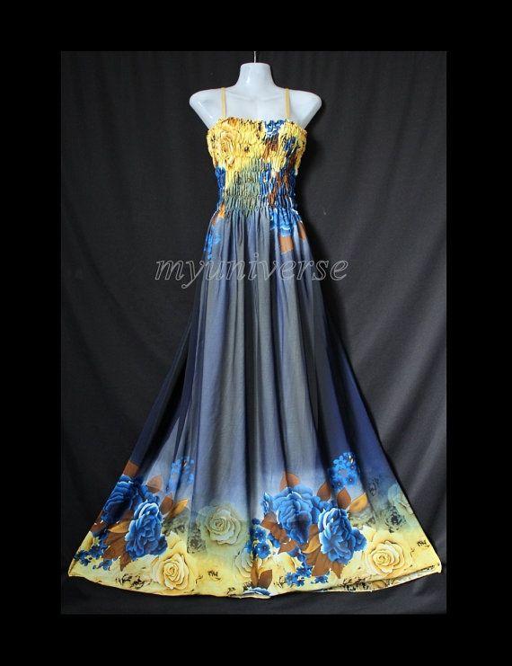 Robe Maxi  Floral de demoiselle d'honneur mousseline par myuniverse, $55.00