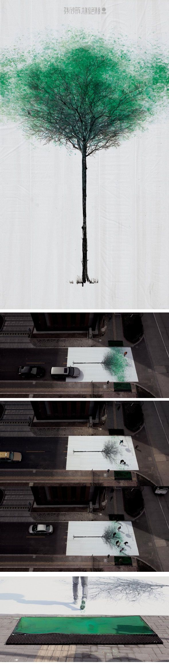 Jody Xiong de DDB China réalise, avec China Environmental Protection Foundation, d'énormes toiles avec un motif d'arbre et les disposent sur 132 passages cloutés dans 15 villes chinoises. Ils placent devant chaque passage piéton un espace rempli de peinture verte. Les gens, marchent dessus, laissent des empreintes sur la toile. Ce sera le feuillage de l'arbre. Pour chaque pas fait, une plante sauvée…