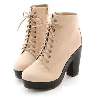Faux-Leather Platform Chunkly-Heel Boots from #YesStyle <3 Miss Dora YesStyle.com
