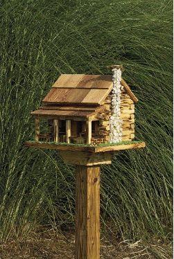 Amish Country Rustic Handmade Log Cabin Bird Feeder With Rock Chimney