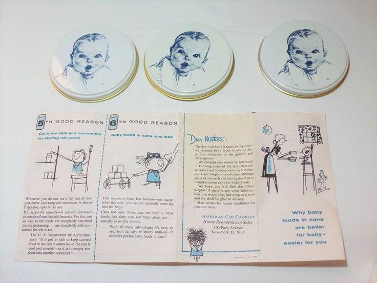 Vintage Gerber Baby Food Storage 3 Can Covers in Original Box Junior Food Size #Gerber