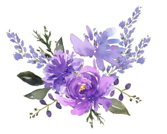 Purple Flower Designs Watercolor Cip Art Lavender Watercolor