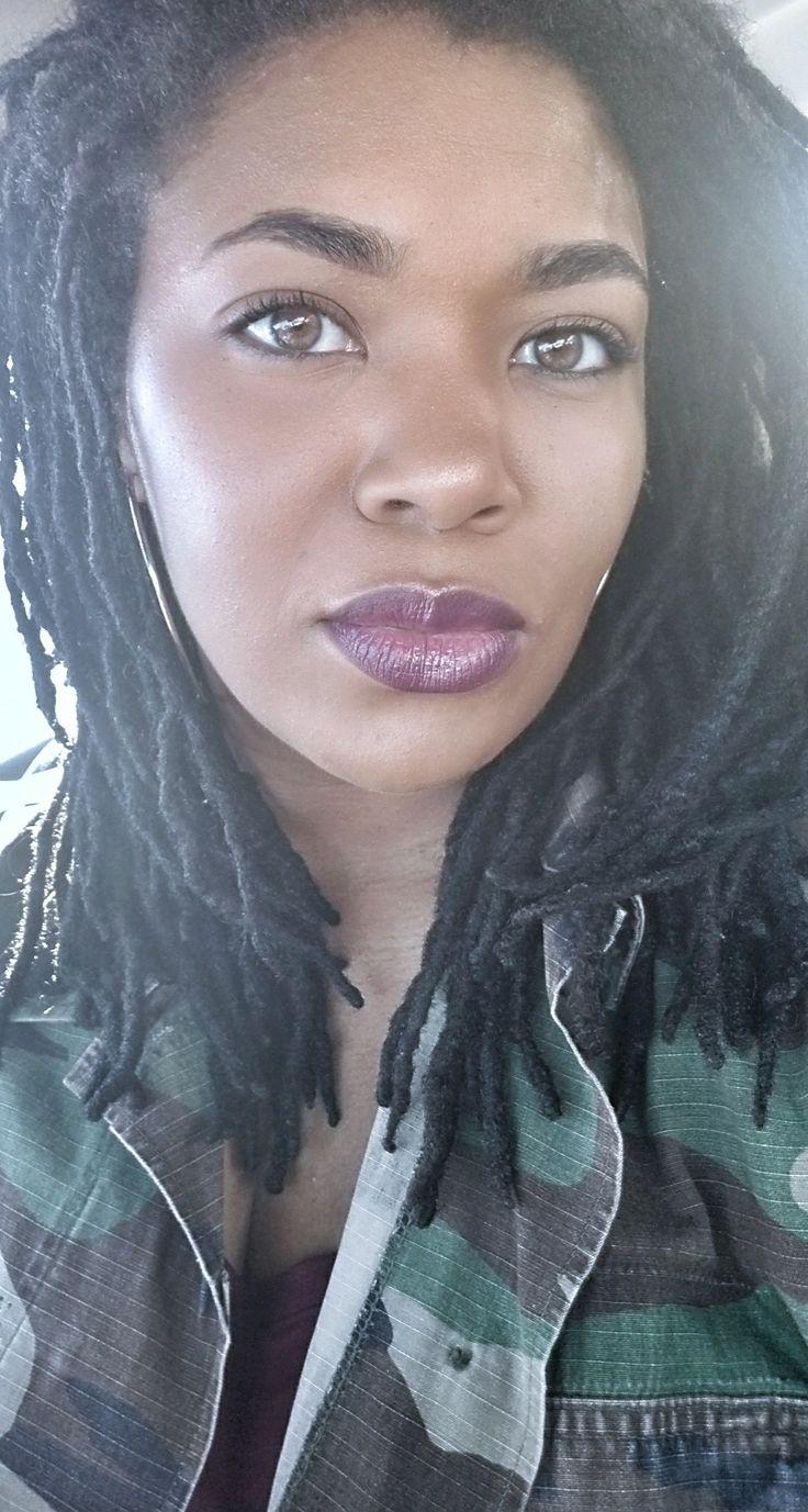 Saturday slay!  Makeup, makeup for beginners, Fenty, Fenty foundation 390, sacha buttercup, Fenty match stix rum, mac  nightmoth liner, Colourpop Zipper, locs, women locs, natural hair, medium locs, loc journey