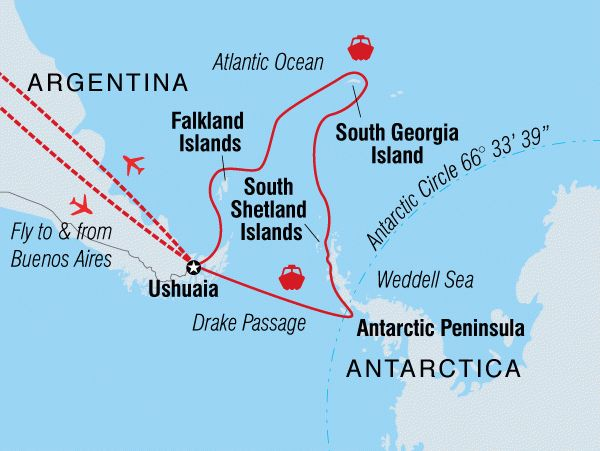 Embark on a cruise across the Antarctic Circle and visit the Falklands, South Shetland Islands, and the Antarctic Peninsula and cross the Drake Passage.