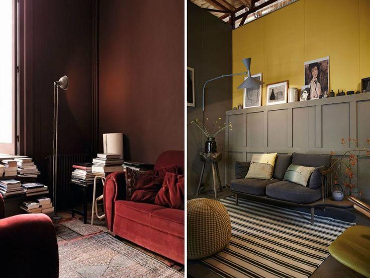 combinações de cores design de interiores parede pintada sotaque
