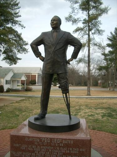 """Clayton """"Peg Leg"""" Bates, the world renowned performer who tap danced his way into the hearts of millions with his famous wooden peg leg,  Fountain Inn, SC."""