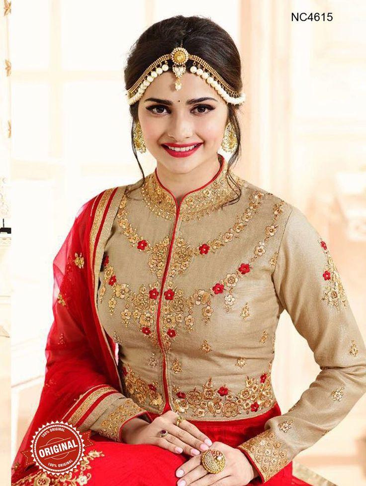 Prachi Desai Red & Beige Raw Silk Lehenga Choli - Lehengas Online Shopping - Natasha Couture