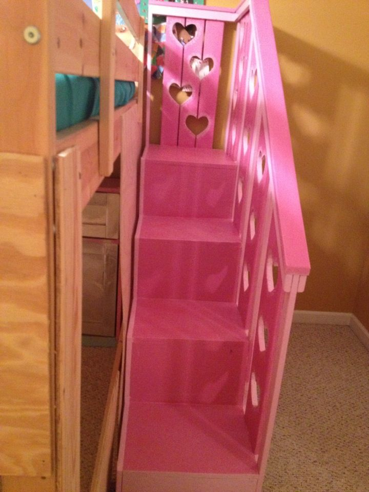 bunk bed with stairs plans free | Sweet Pea Garden Bunk Bed Storage Stairs | Do It Yourself Home ...