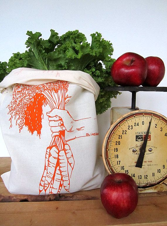 Reusable Produce Bags - Set of 2 - Screen Printed Natural Cotton Produce Bags…