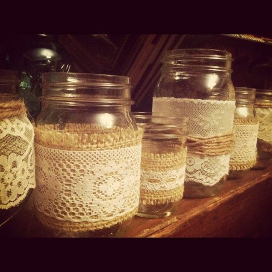 Burlap and Lace Mason Jars – Candle holder – Vase (Set of 5) – mix and match. $32.00, via Etsy. @ DIY Home Decor