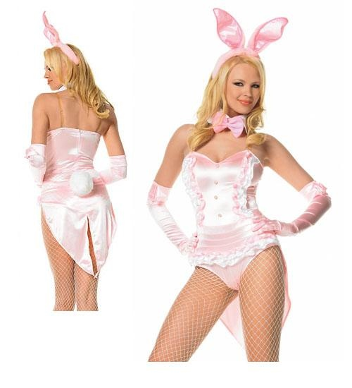 sexy pink playboy bunny fancy dress costume 10 12 14. Black Bedroom Furniture Sets. Home Design Ideas