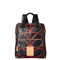 Orla Kiely Back Pack with Classic Giant Linear Stem Print | navy or kelp / olive colour schemes